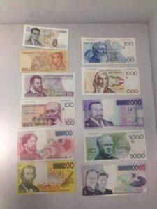 Oude Belgische bankbiljetten in belgische frank
