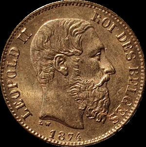 België Leopold 2 1874 20 frank goud