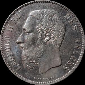zilver 5 frank Leopold II Roi des Belges