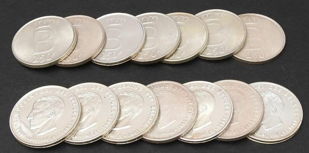 1 belgie 250 frank zilver