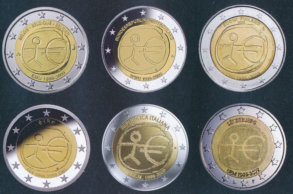 2 euromunten van de verschillende landen in euro