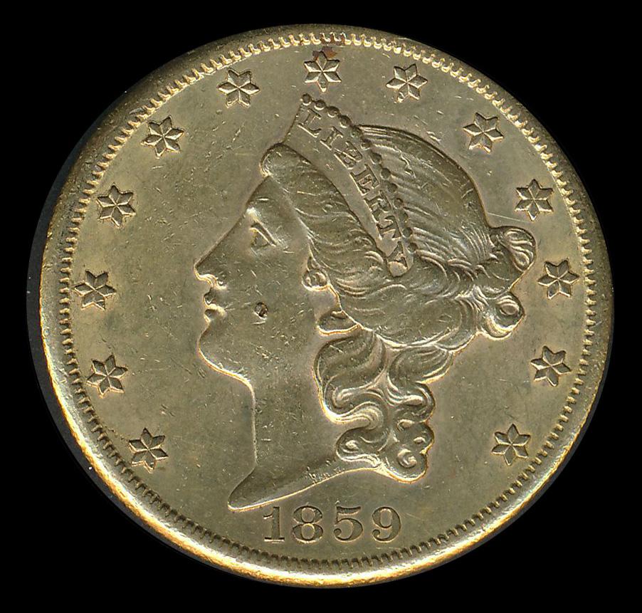amerika goud 20 usd dollar 1859