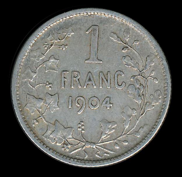 belgie 1 frank zilver 1904