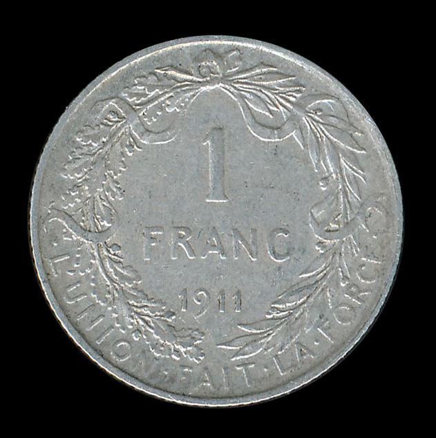 belgie 1 frank zilver 1911