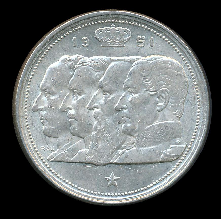 belgie 100 frank zilver 1951