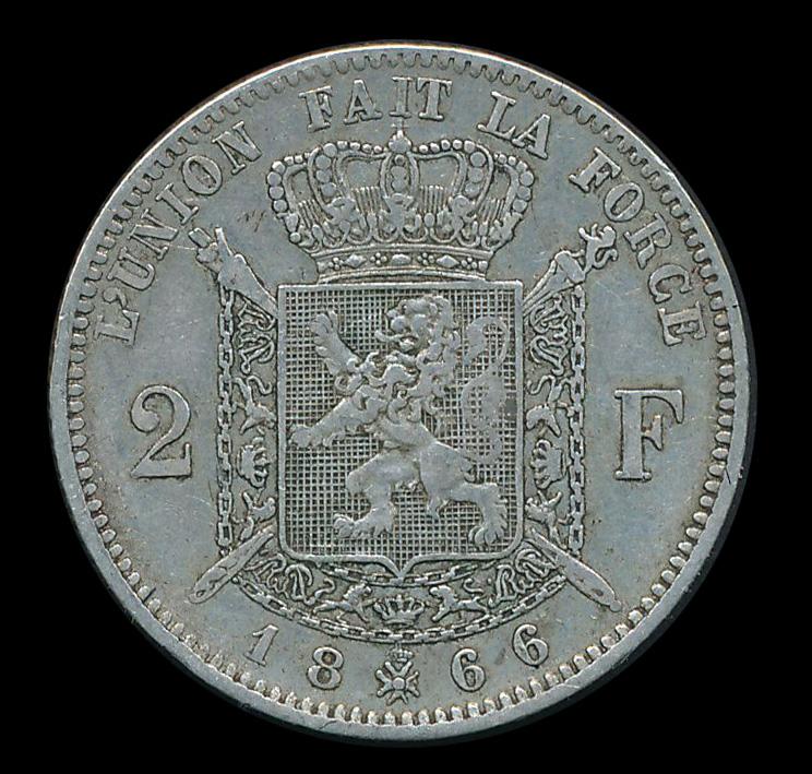 belgie 2 frank zilver munt 1866