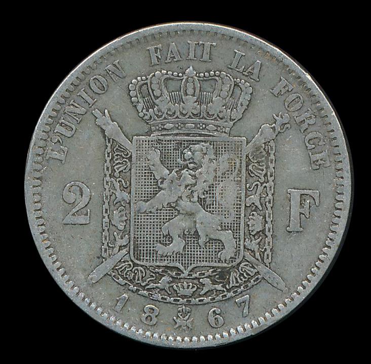 belgie 2 frank zilver munt 1867