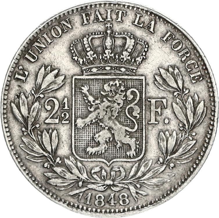 belgie 2,5 frank zilver leopold I