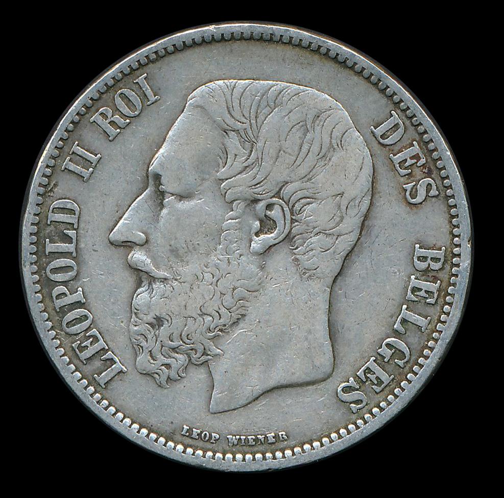 belgie 5 frank zilver leopold II roi