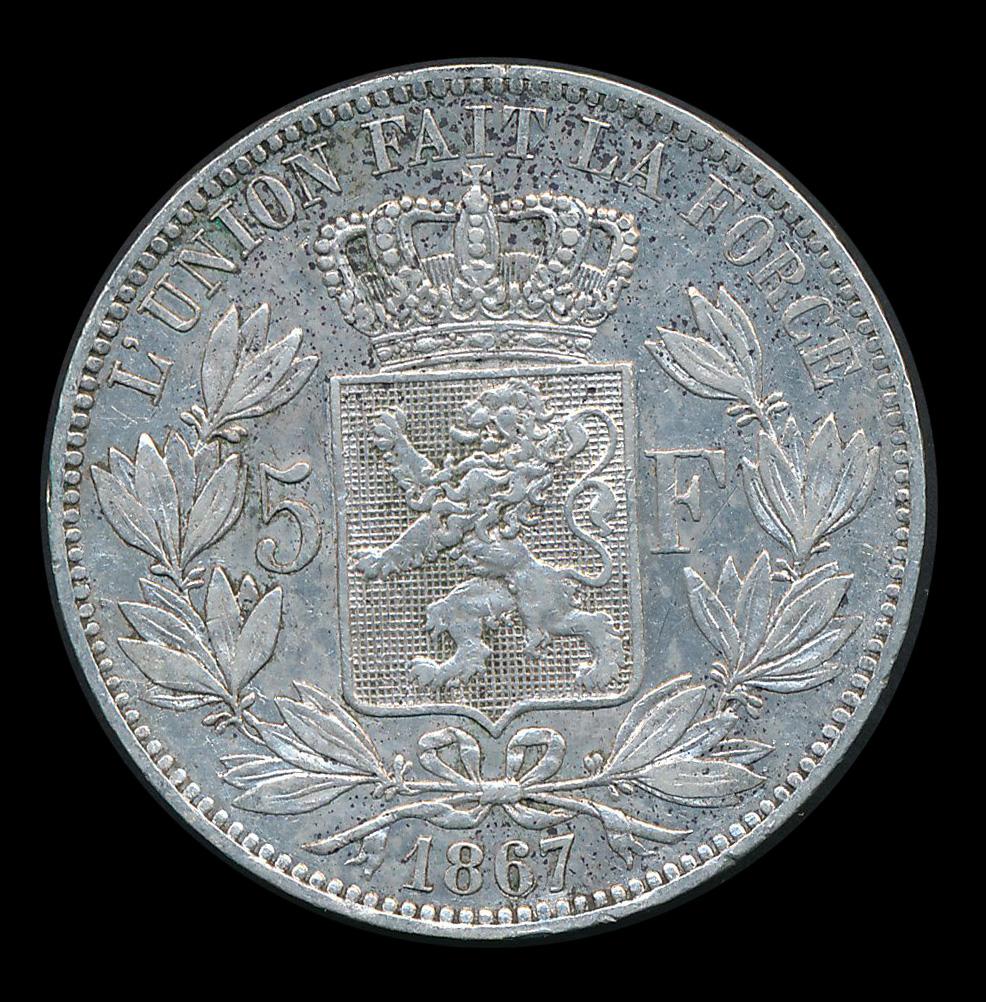belgie 5 frank zilver munt 1867