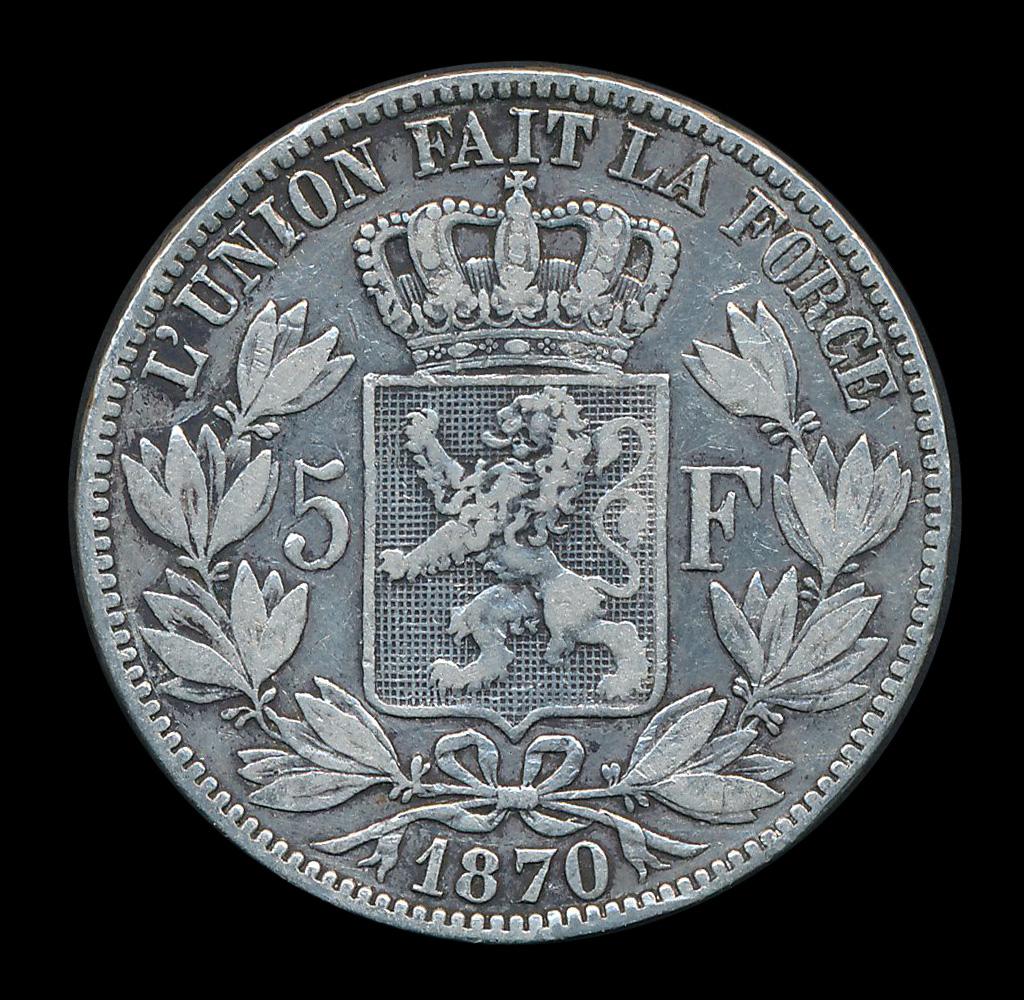 belgie 5 frank zilver munt 1870