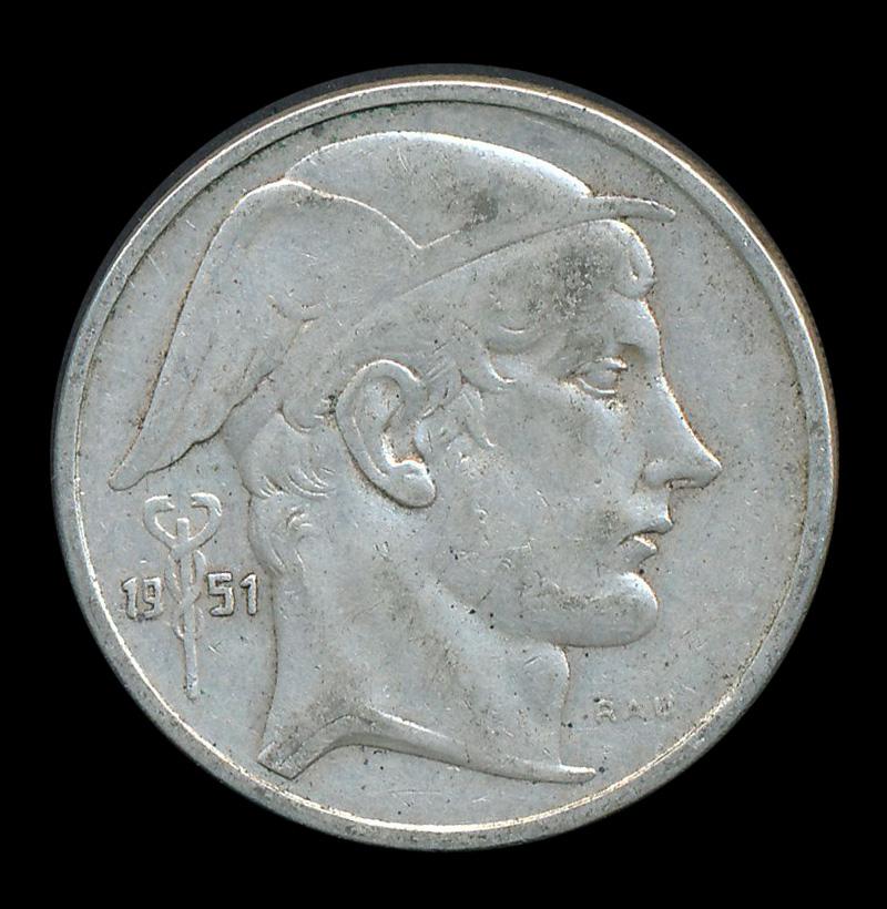 belgie 50 mercurius frank zilver 1951