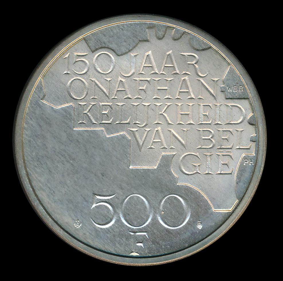belgie 500 frank zilver 150 jaar onafhankelijkheid