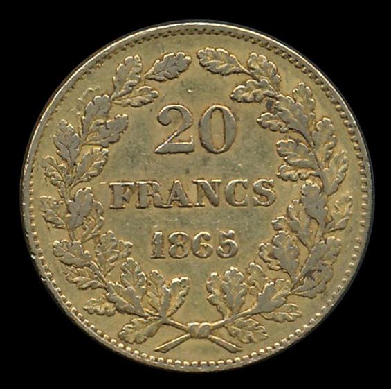 belgie goud 20 frank 1865