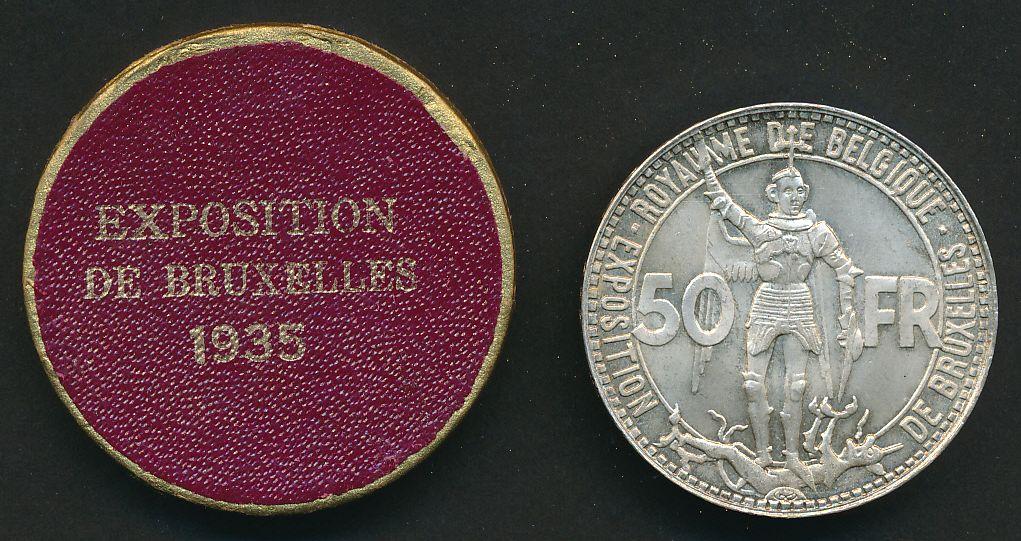 belgique 50 zilver expo 35
