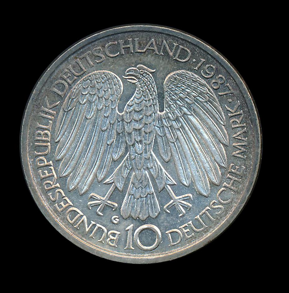 duitsland 10 mark zilver 1987