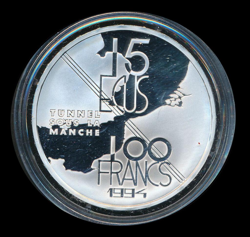 euro ecu 15 zilver tunnels sous la manche 1994
