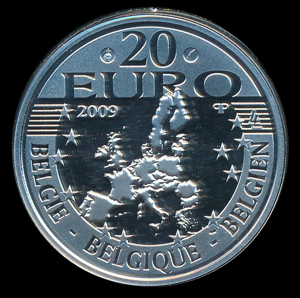 euro ecu 20 zilver belgie 2009