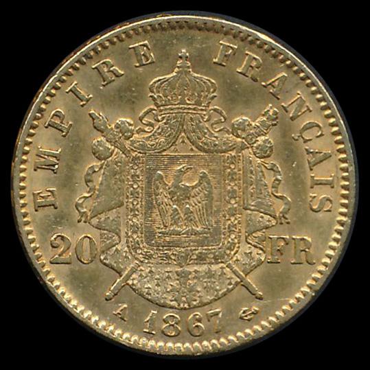 frankrijk goud 20 franc 1867