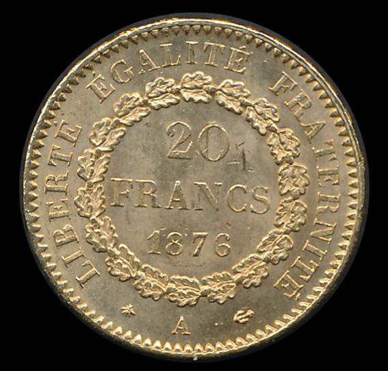 frankrijk goud 20 franc 1876