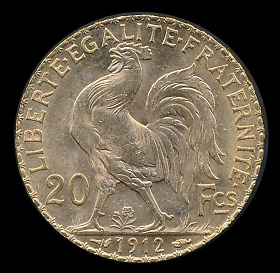 frankrijk goud 20 franc 1912
