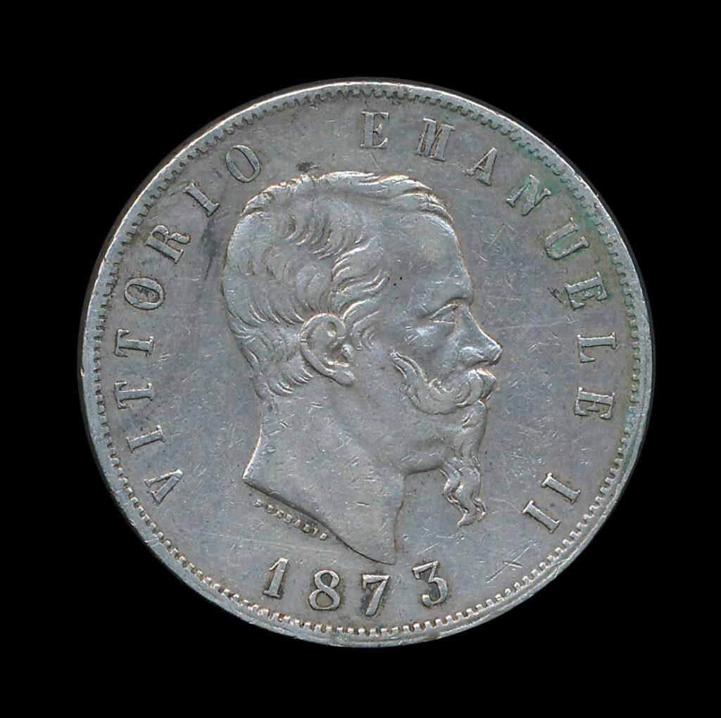 italie 5 lire zilver 1873