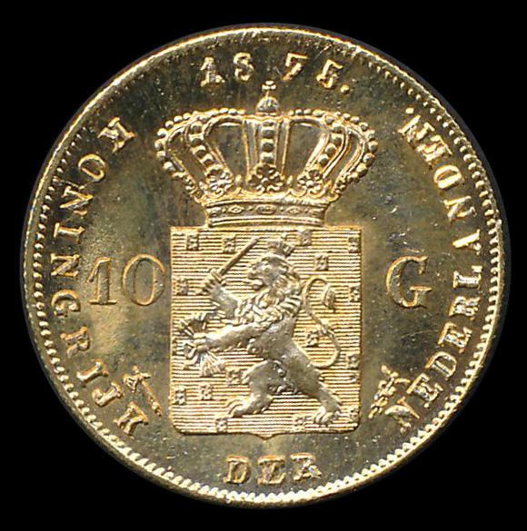 nederland goud 10 gulden 1875