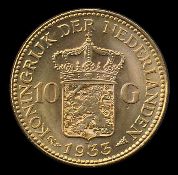 nederland goud 10 gulden 1933