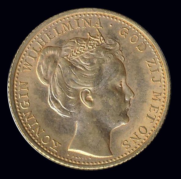 nederland goud gulden front wilhelmina