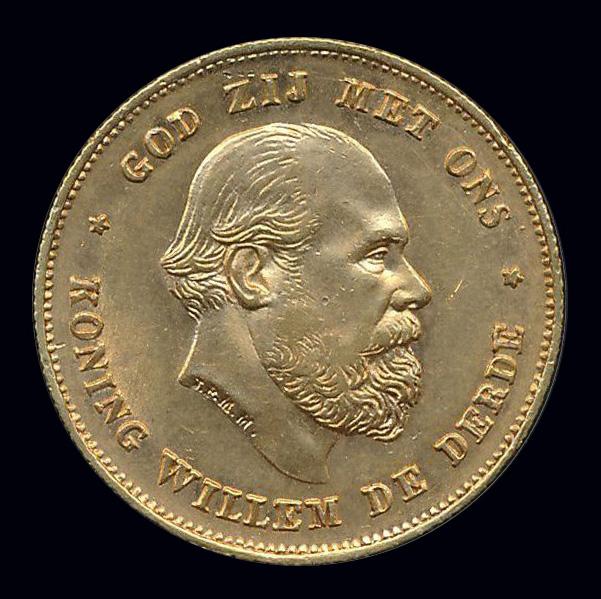 nederland goud gulden front willem III