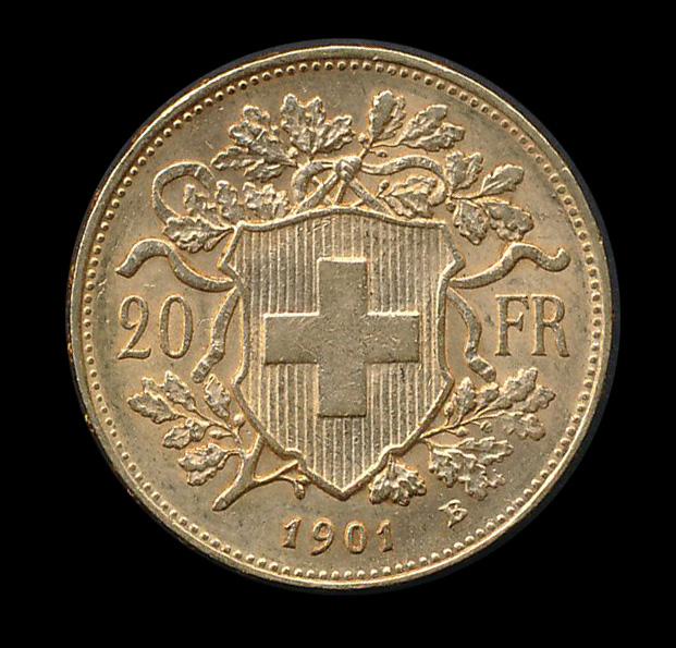 suisse goud 20 fr 1901