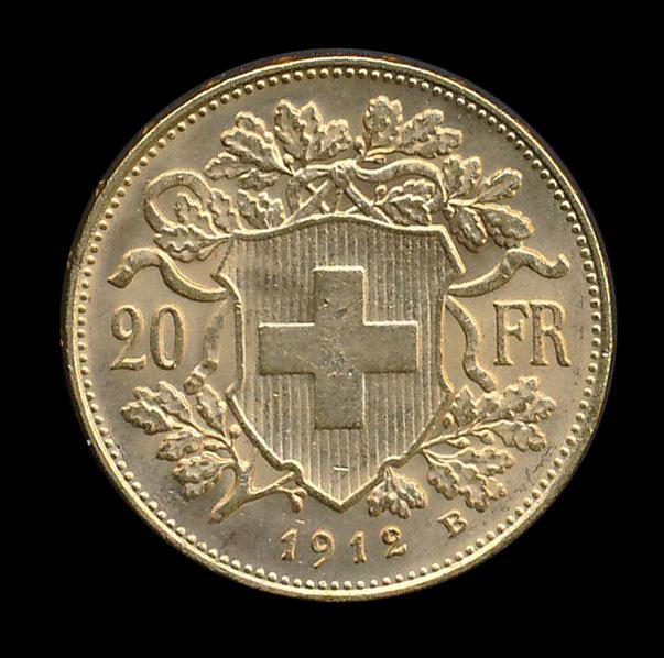 suisse goud 20 fr 1912