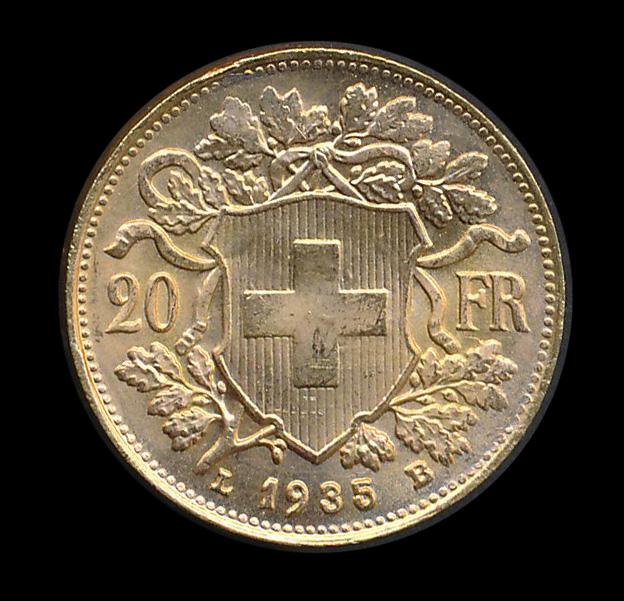 suisse goud 20 fr 1935