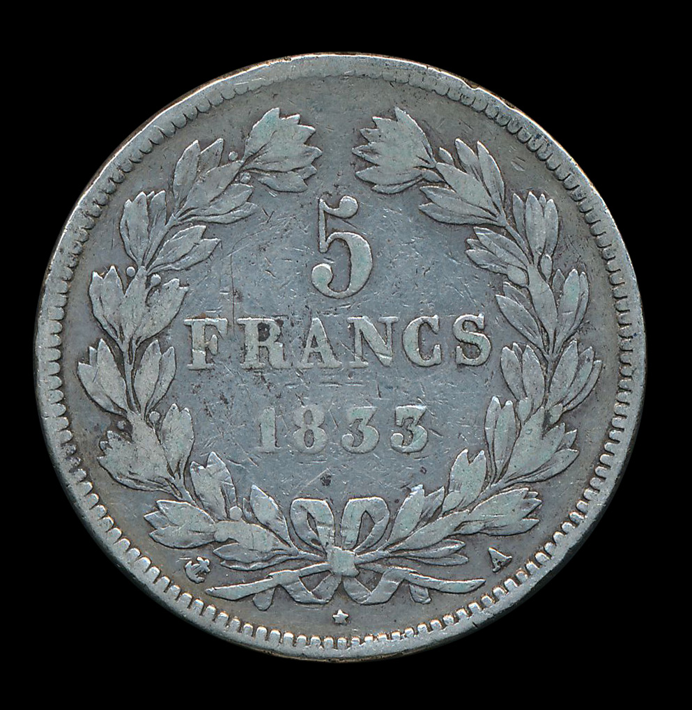 zilver frankrijk 5 franc 1833
