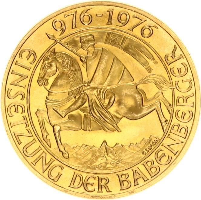 Republic Osterreich 1000 Schilling Einsetzung der Barenberger 976 1976 goud verso