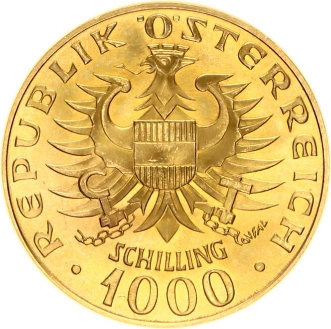 Republic Osterreich 1000 Schilling Einsetzung der Barenberger 976 1976 goud
