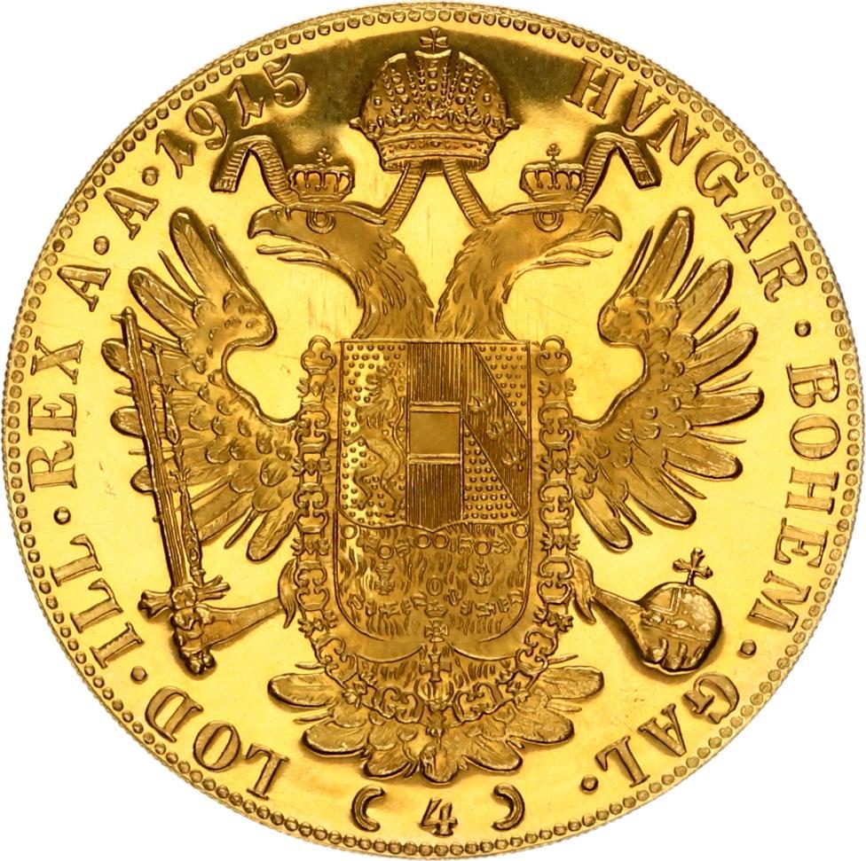 100 corona 4 dukaat 1915 goud oostenrijk verso