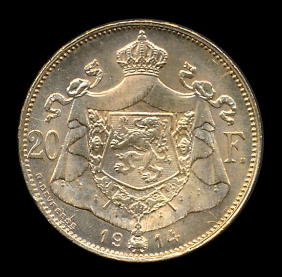 belgie goud 20 frank 1914