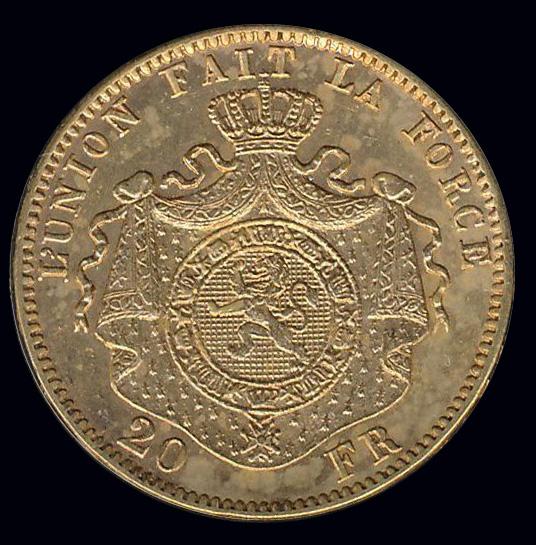 belgie goud 20 frank lunion fait la force