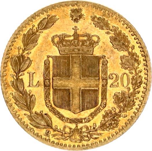 umberoto I italia 1882 20 lire goud verso
